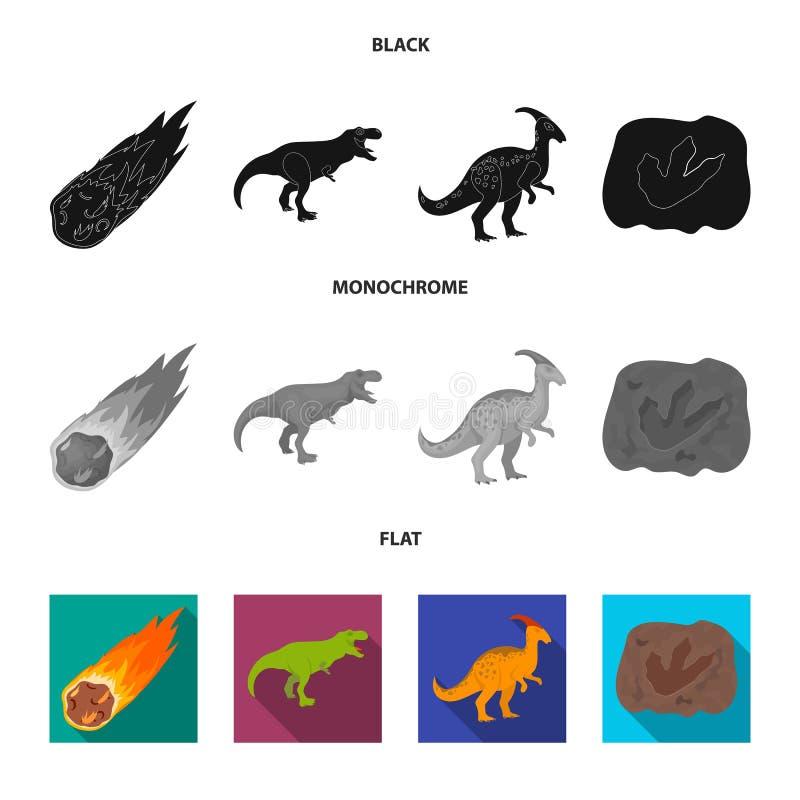 Een dalende meteoriet, parasaurolophus, tyrannosaurus, een afdruk van een dinosaurusvoet De dinosaurus en de voorhistorische peri vector illustratie