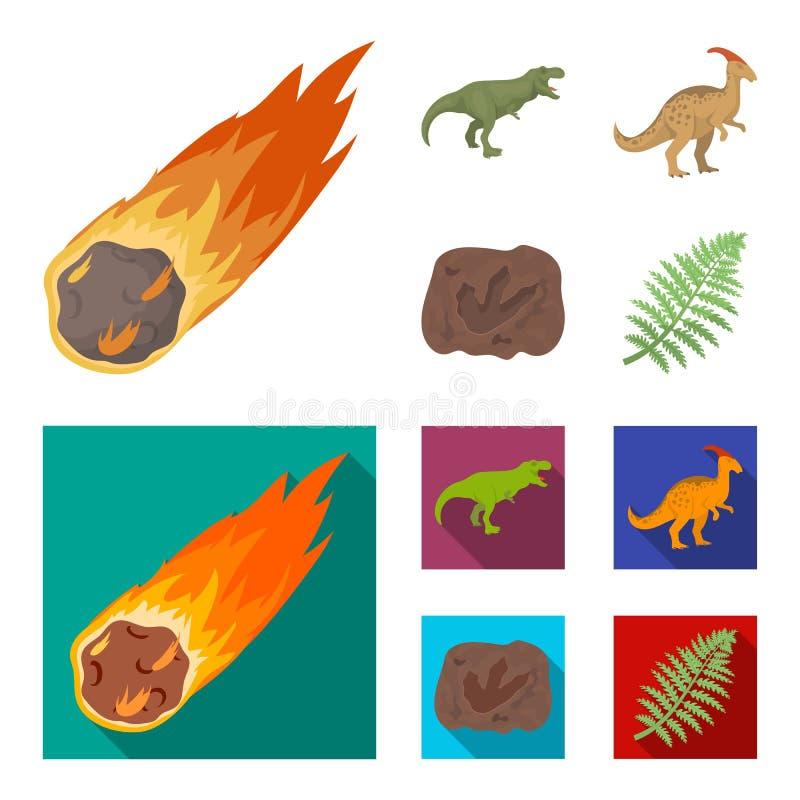 Een dalende meteoriet, parasaurolophus, tyrannosaurus, een afdruk van een dinosaurusvoet De dinosaurus en de voorhistorische peri royalty-vrije illustratie