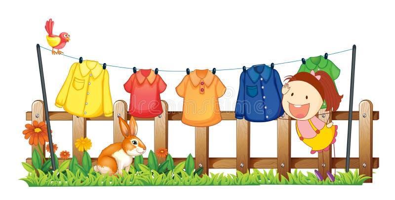 Een dame die haar kleren hangen dichtbij de tuin met een konijn vector illustratie