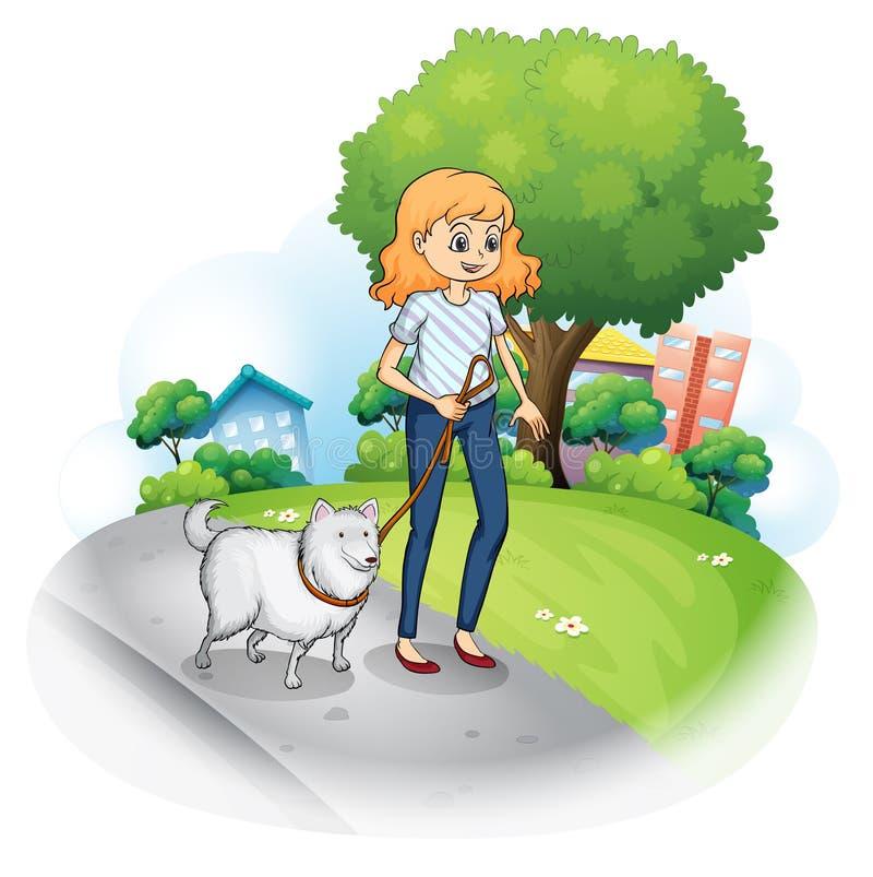 Een dame die met haar hond wandelen royalty-vrije illustratie