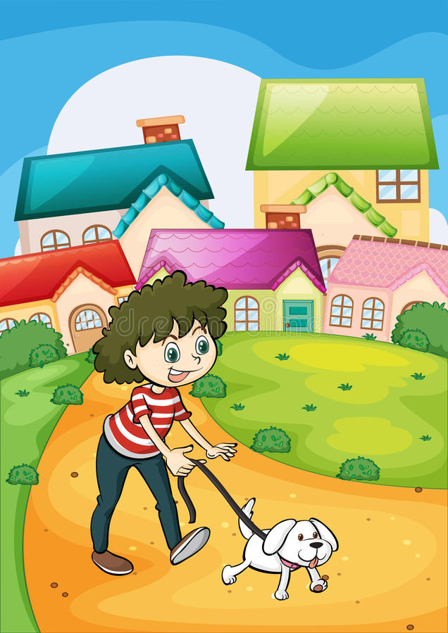 Een dame die met haar wit puppy wandelen vector illustratie