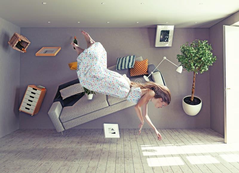 Een dame vliegt in nul ernstruimte royalty-vrije stock foto's