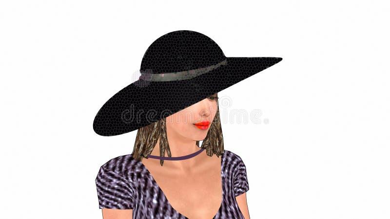 Een dame in een zwarte zonsonderganghoed en gestreepte blouse op de witte achtergrond vector illustratie