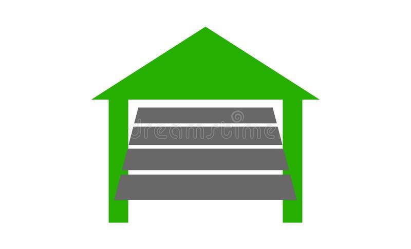 Een de deur van de autogarage het openen pictogram stock afbeeldingen