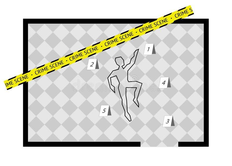 Een de geïsoleerd lichaamsoverzicht met de band en aantallen van de misdaadscène, royalty-vrije illustratie