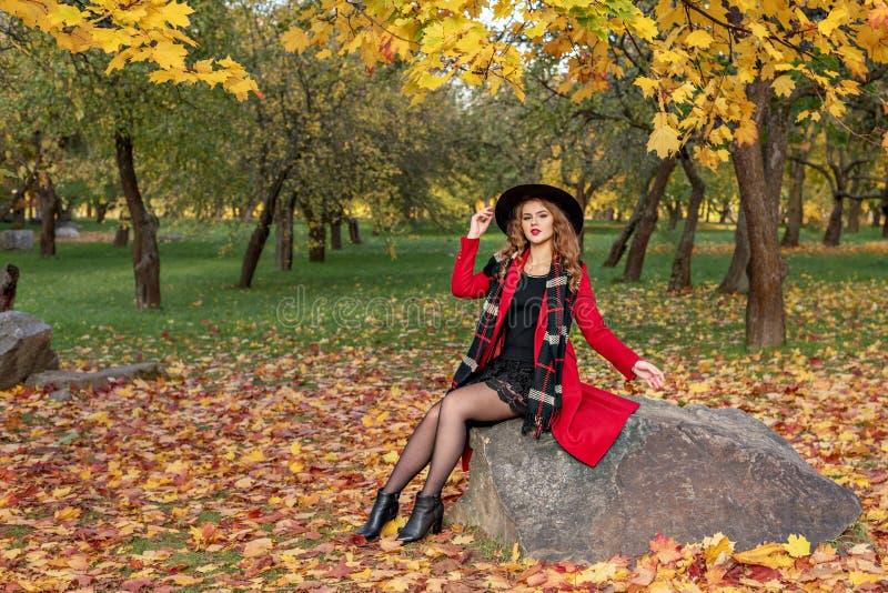 In een de herfstpark zit een meisje op een rots in een rode laag met een zwarte hoed en een sjaal royalty-vrije stock afbeelding