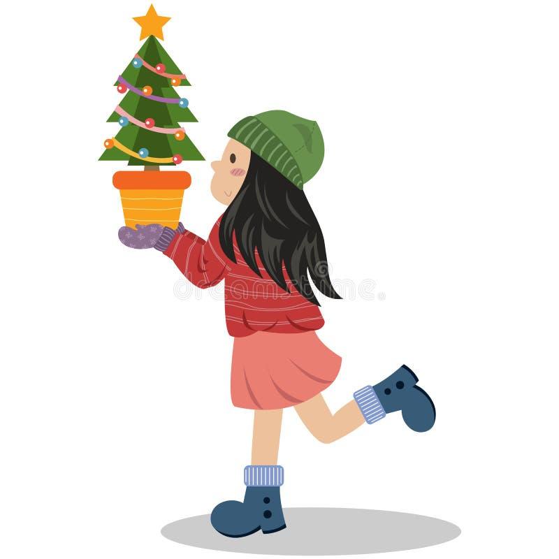 Een de Kerstboompot van de Meisjesholding stock illustratie