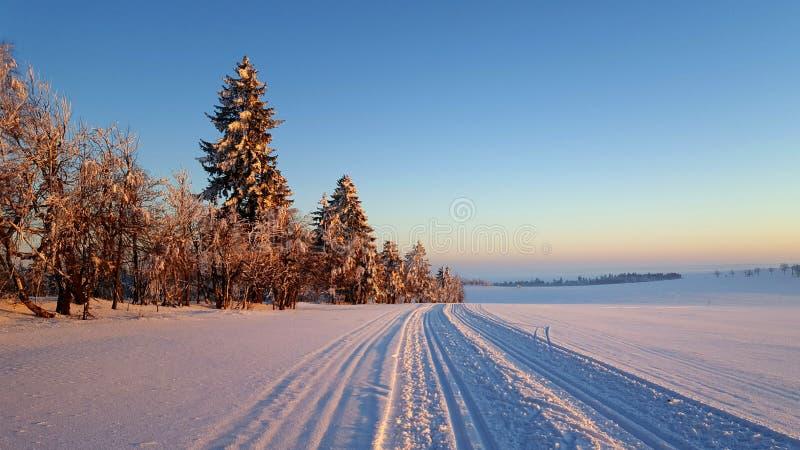 Een de winterlandschap, met dwars het ski?en van het land slepen wordt verfraaid die stock foto