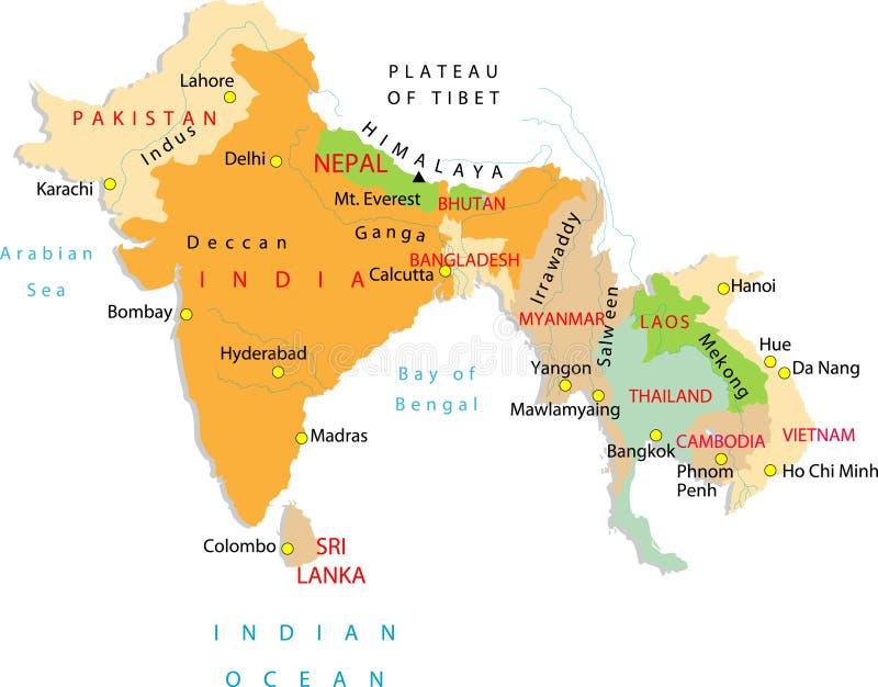 Een deel van Azië. stock illustratie