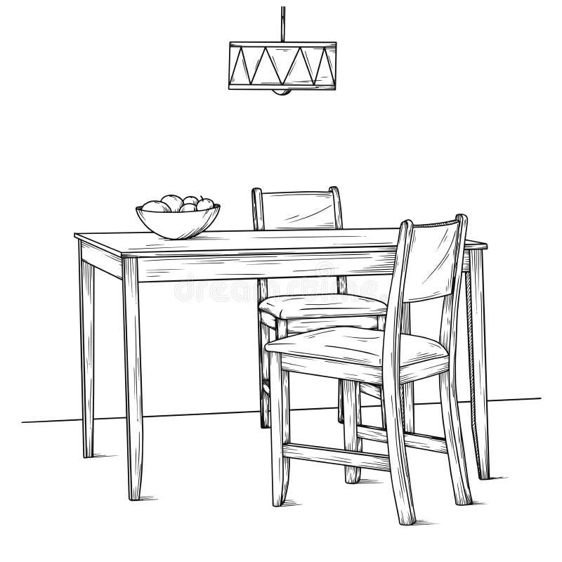 Een deel van de eetkamer Lijst en stoelen Hand getrokken schets Vector royalty-vrije illustratie