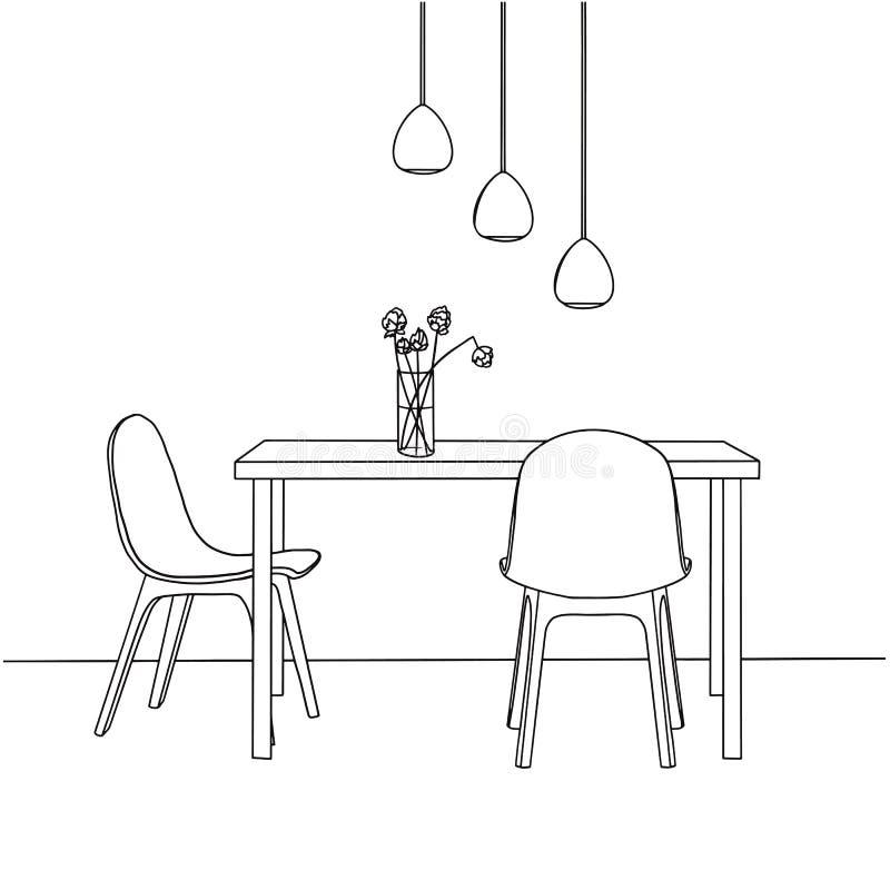 Een deel van de eetkamer Op de lijstvaas van bloemen De lampen hingen over de lijst Hand getrokken schets vector illustratie