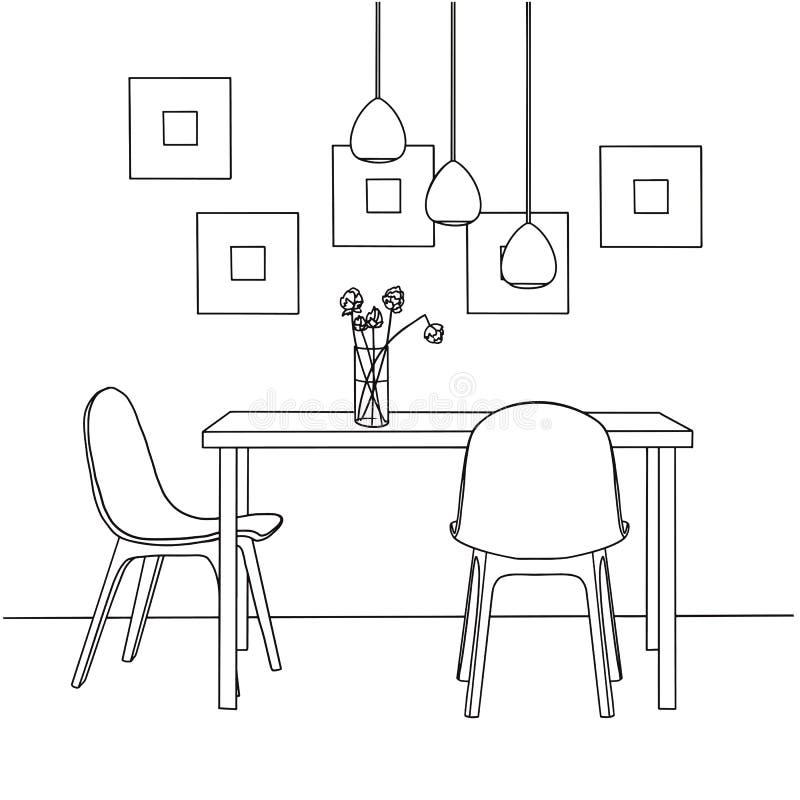 Een deel van de eetkamer Op de lijstvaas van bloemen De lampen hingen over de lijst Hand getrokken schets royalty-vrije illustratie