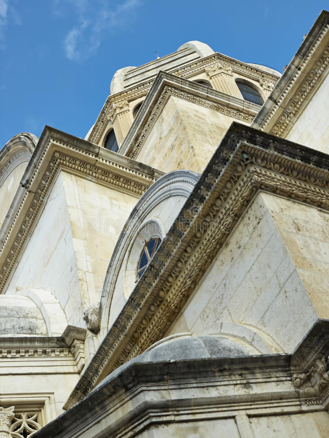 Een deel van de Kathedraal van St. James in Sibenik royalty-vrije stock afbeelding