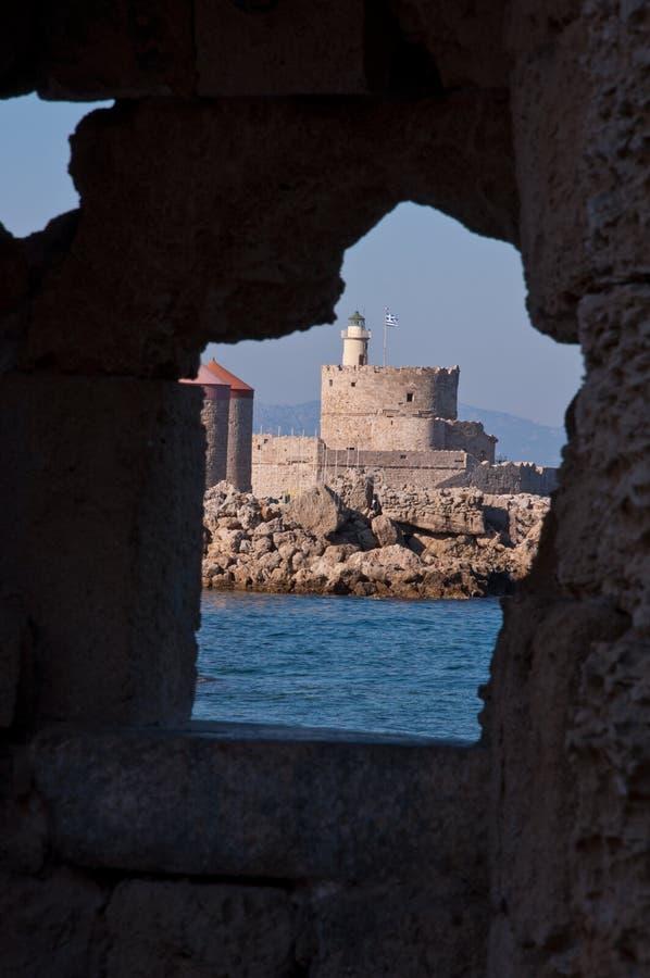 Een deel van de Oude Stad, Rhodos stock foto