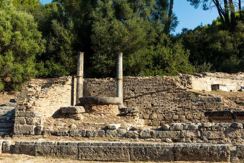 Een deel van de ruïnes van Nymphaion, Oude Olympia, Griekenland stock afbeelding
