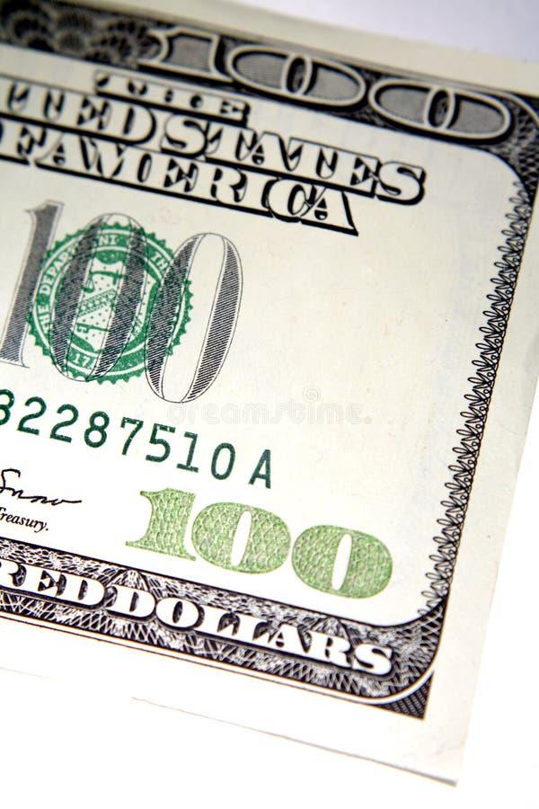 Een deel van de V.S. 100 dollarrekening stock foto's