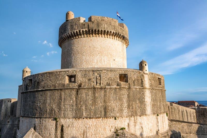 Een deel van Dubrovnik-Stadsmuren royalty-vrije stock fotografie