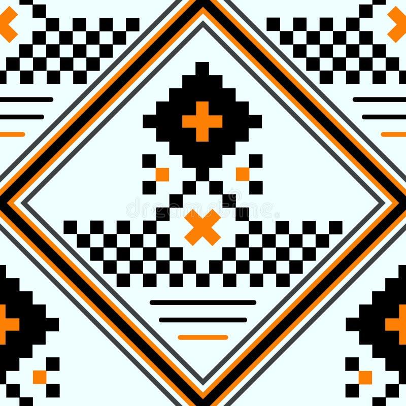 Een deel van geborduurd goed zoals de met de hand gemaakte zwarte, het wit en het rood van het dwars-steek etnische naadloze patr vector illustratie