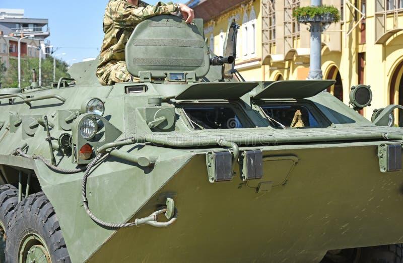 Een deel van een gepantserd militair voertuig stock afbeelding