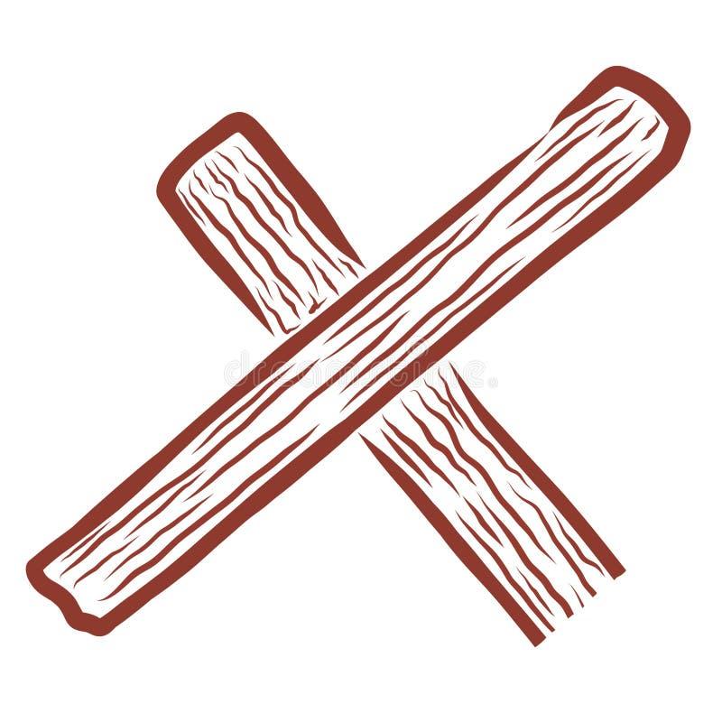 Een deel van het houten kruis is gelijkaardig aan brief x vector illustratie