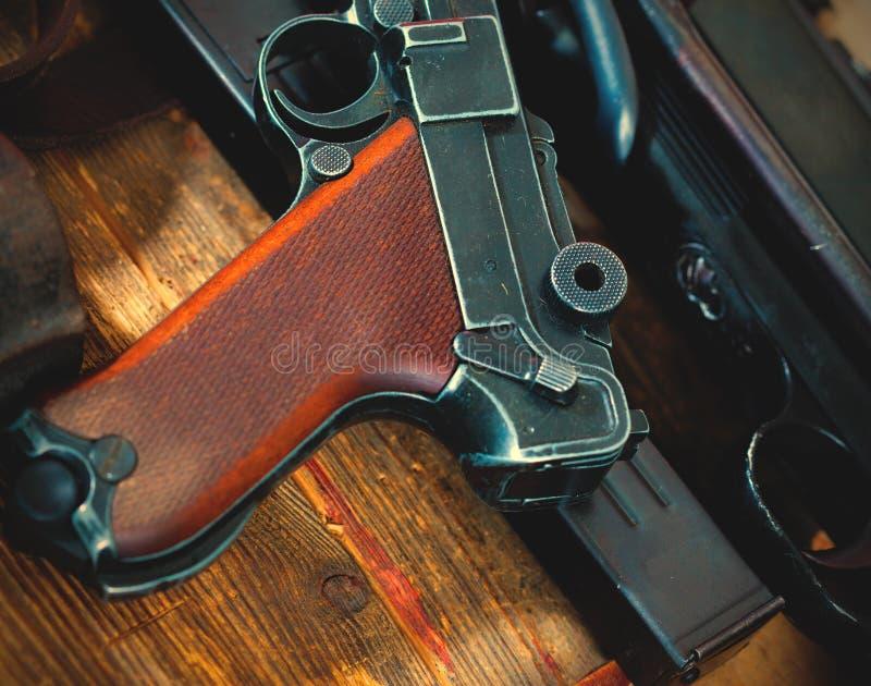 Een deel van het pistool van Luger Parabellum royalty-vrije stock afbeelding