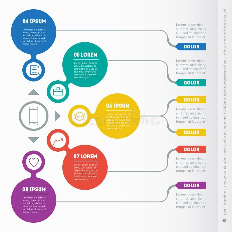 Een deel van het rapport met geplaatste pictogrammen Vector infographic van technol royalty-vrije illustratie