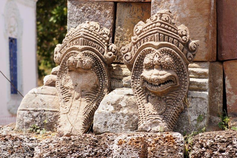 Een deel van het tempelbeeld van slangen, Kambodja royalty-vrije stock foto's