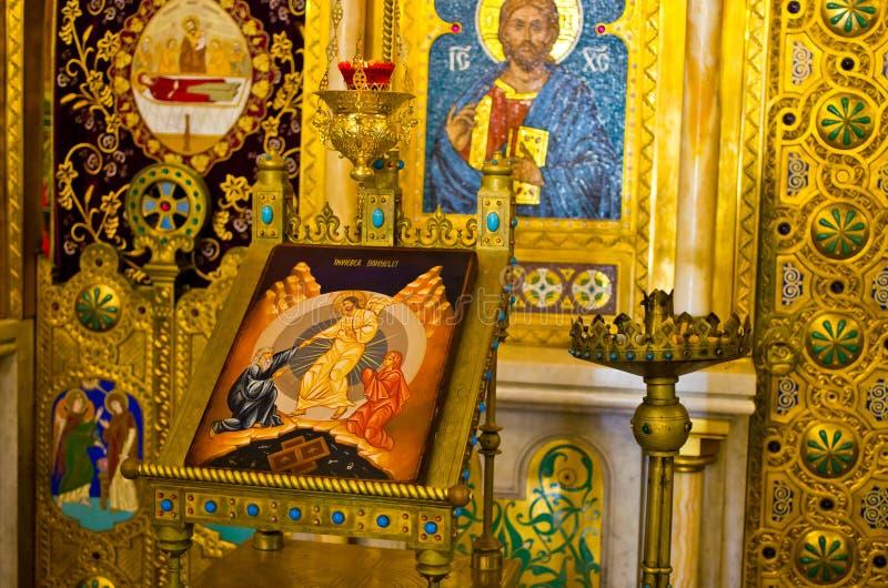 Een deel van iconostasis in Curtea DE Arges, Roemenië stock foto's