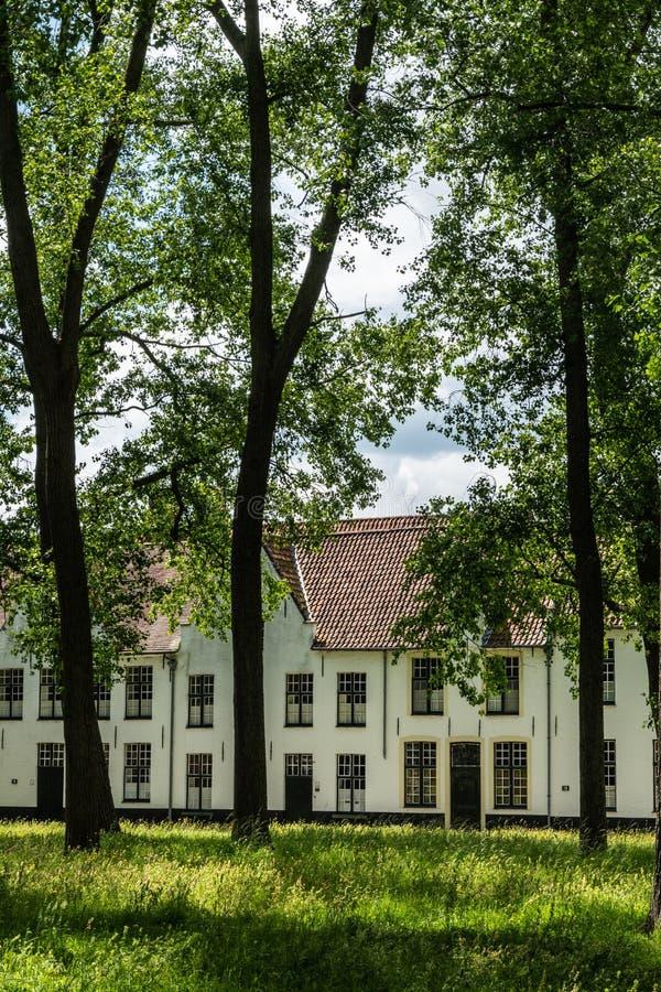 Een deel van ingesloten park van Beguinage in Brugge, Vlaanderen, België royalty-vrije stock fotografie