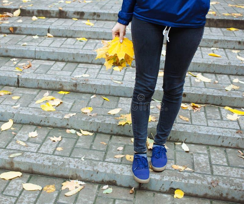 Een deel van koud regenachtig de herfstconcept van lichaamsmensen Sportieve benenjeans en tennisschoenen Vrouw in de blauwe blade royalty-vrije stock afbeeldingen