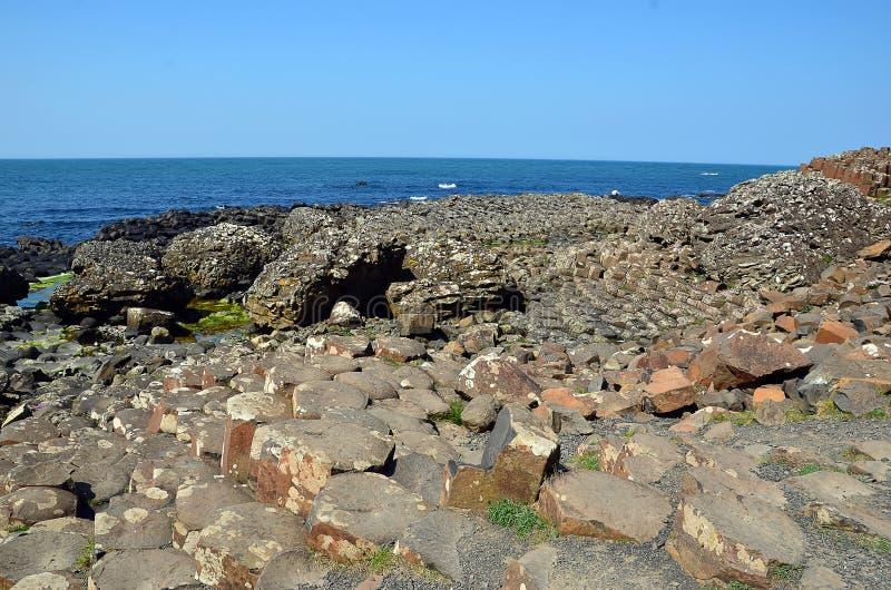 Een deel van Reuzeverhoogde weg met rotsen en ziet in Ierland stock foto's