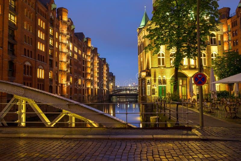 Een deel van Speicherstadt in Hamburg royalty-vrije stock foto's