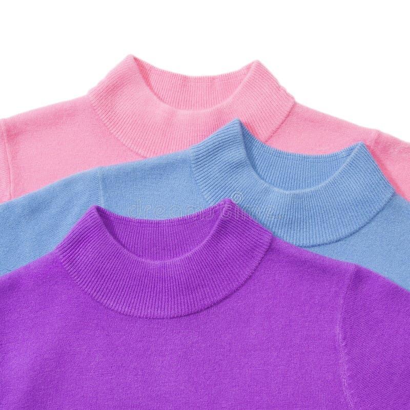 Een deel van stapel van drie sweaters stock afbeelding