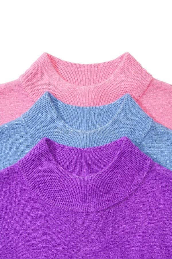 Een deel van stapel van drie sweaters royalty-vrije stock foto
