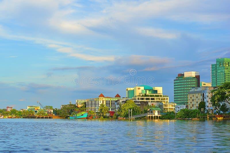 Een Deel van Toneelweergeven van de Rivier van Sarawak in de Avond stock foto
