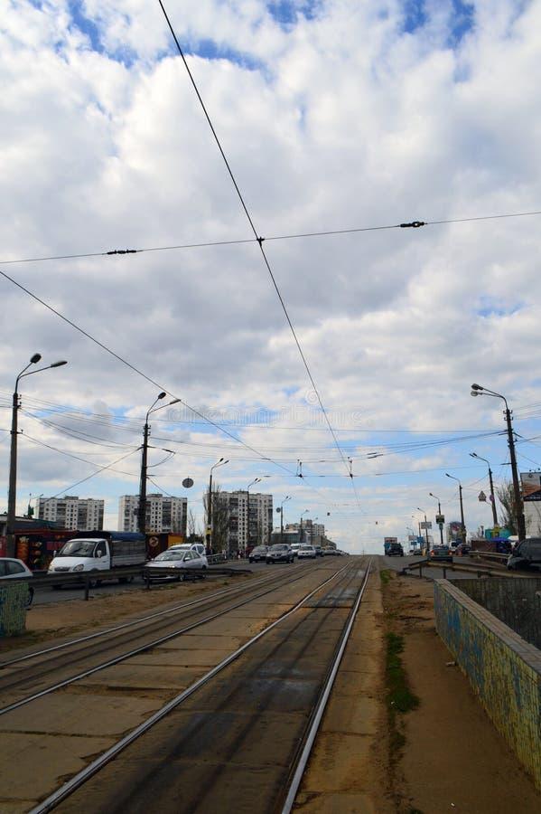 Een deel van een tramspoor zonder een tram stock afbeelding