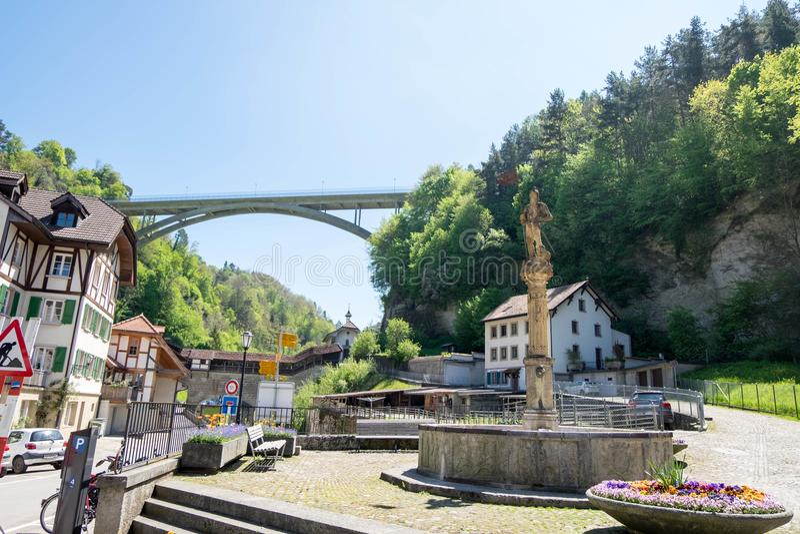Een deel voor cityscape van Fribourg-stad stock afbeeldingen
