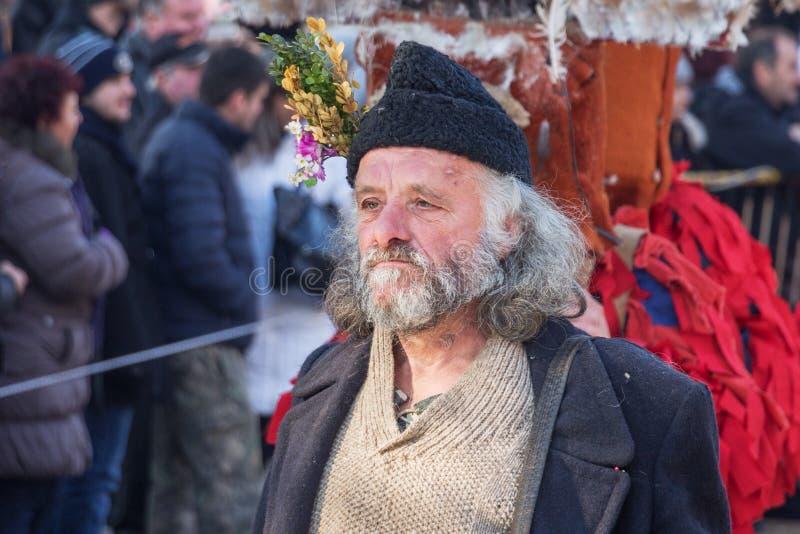 Een deelnemer in Festival van Maskeradespelen ` Surva ` royalty-vrije stock afbeeldingen