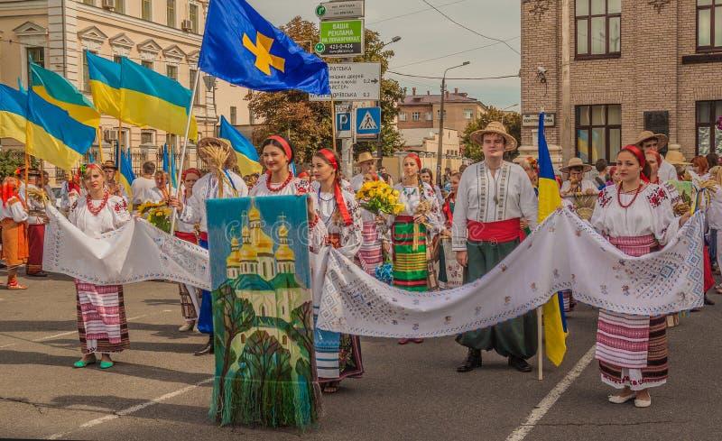 Een delegatie van het gebied van Poltava op parade vyshivanok (Embro stock afbeelding
