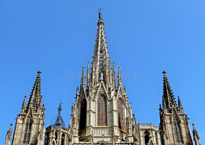 Een Detail in de voorzijde van de kathedraal in Barcelona stock foto