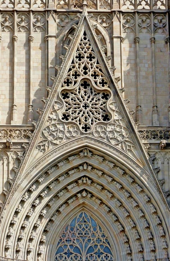 Een Detail in de voorzijde van de kathedraal in Barcelona stock fotografie