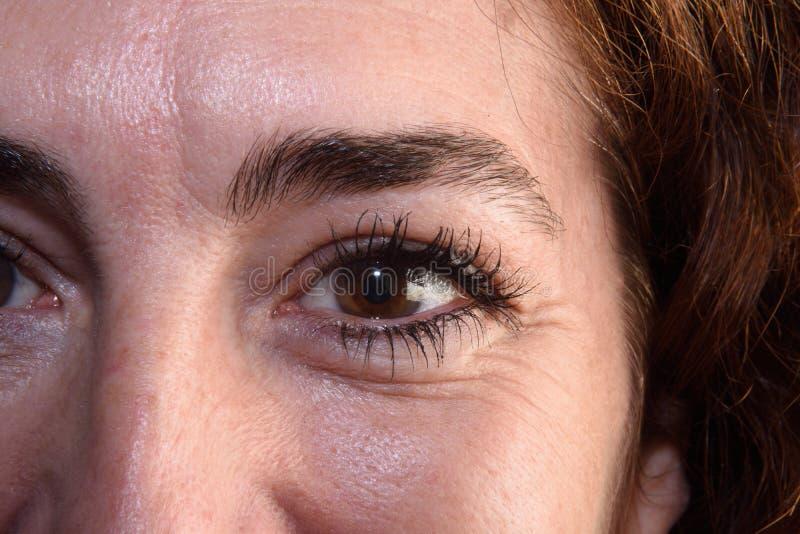 Een Detail van rimpels in vrouwen` s ogen royalty-vrije stock foto