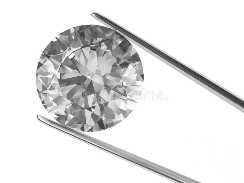 Een diamant die in pincet wordt gehouden royalty-vrije illustratie