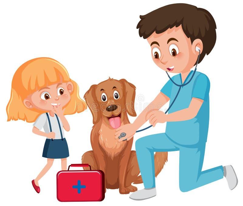 Een Dierenarts die Hond behandelen stock illustratie