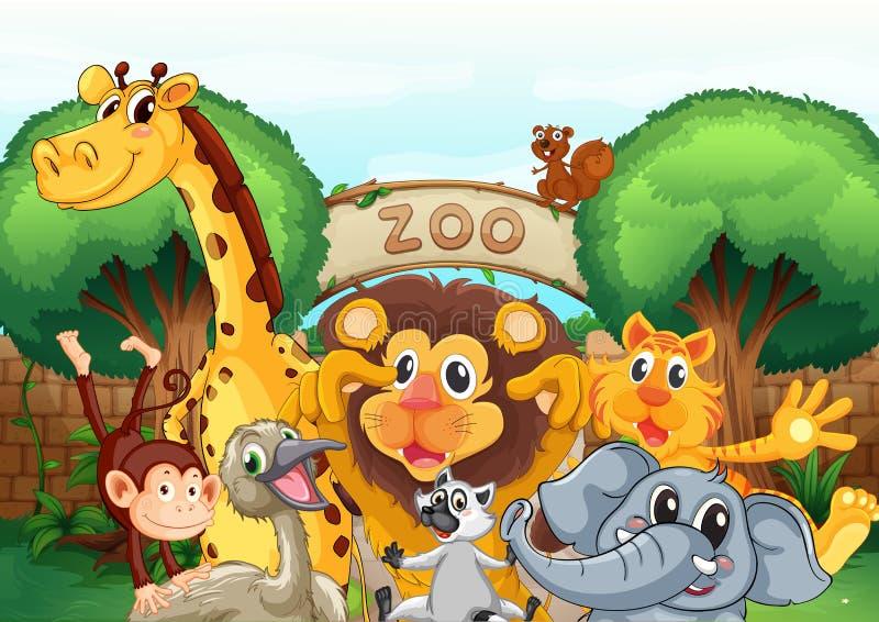 Een dierentuin en de dieren vector illustratie