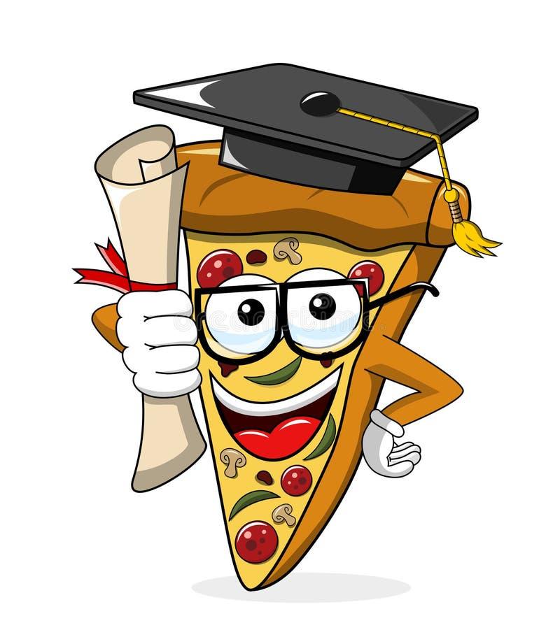 Een diploma behaalde geïsoleerd de graad grappig van de pizzaplak beeldverhaal stock illustratie