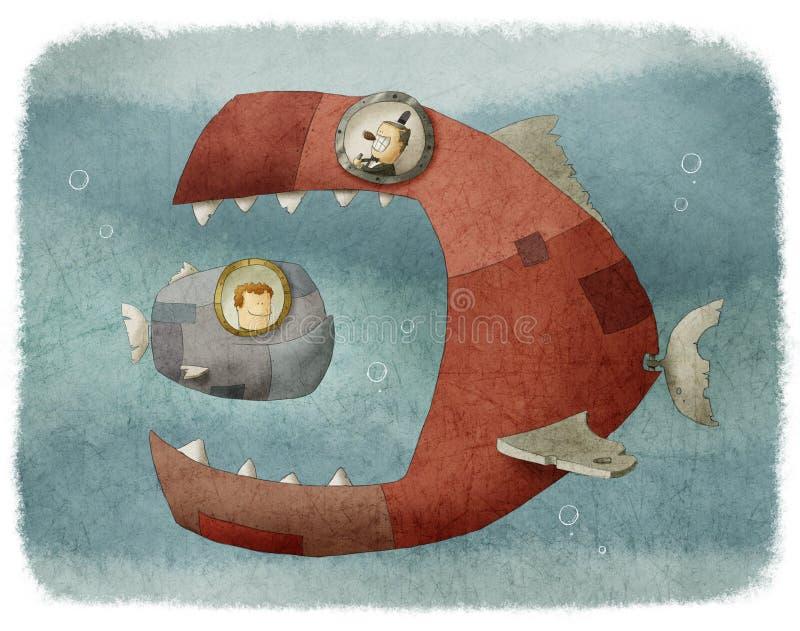 Grote vissen die een kleine vis eten vector illustratie