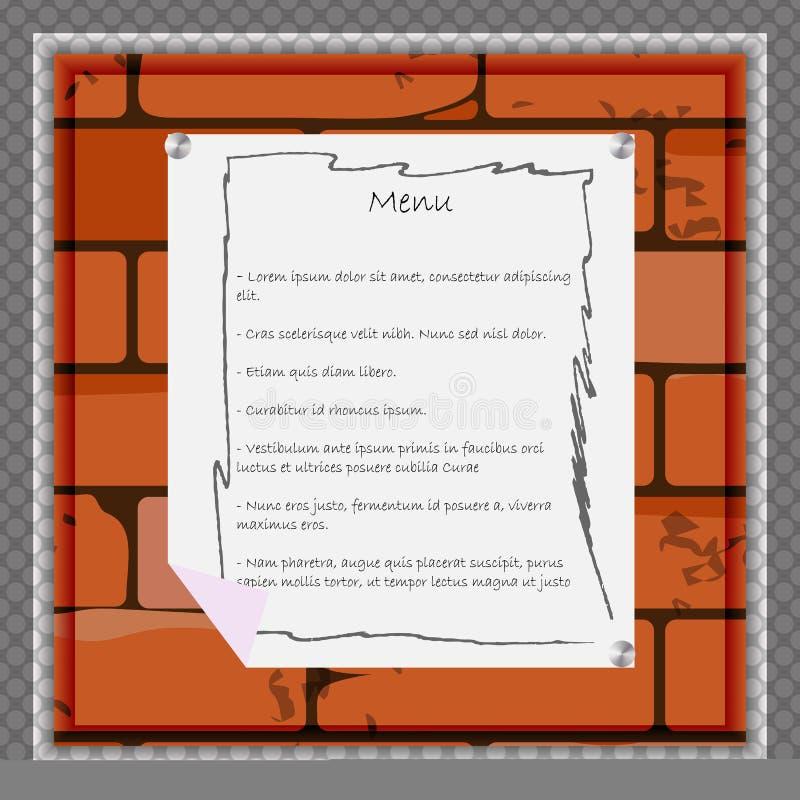 Een document blad voor menu of andere informatie over de achtergrond van een bakstenen muur royalty-vrije illustratie