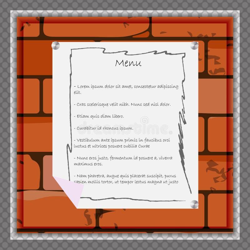Een document blad voor menu of andere informatie over de achtergrond van een bakstenen muur stock illustratie