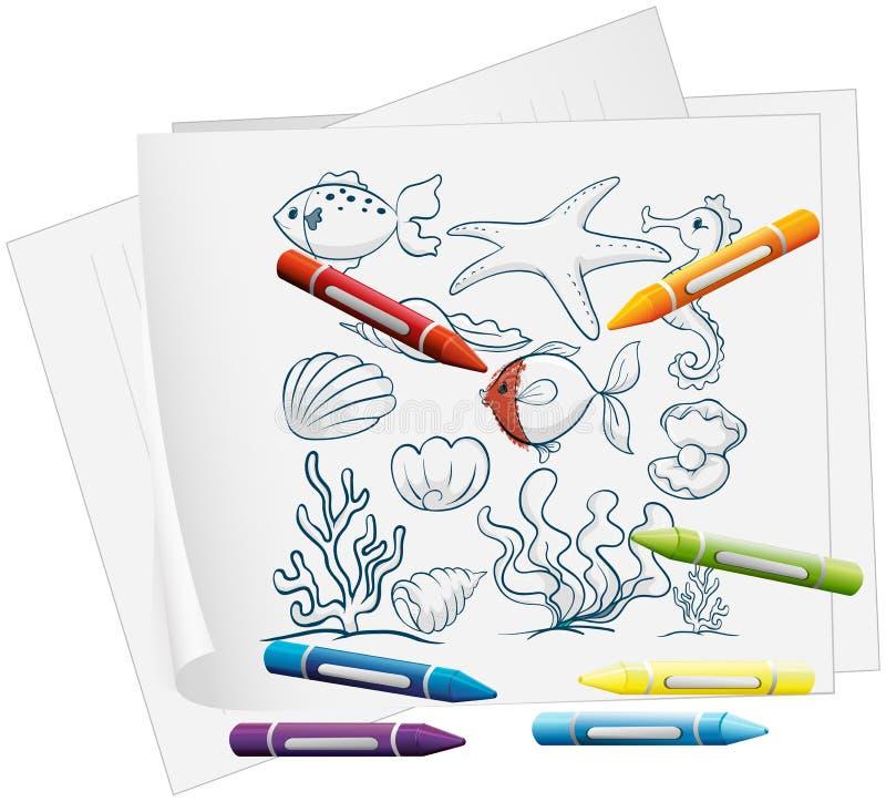 Een document met de verschillende overzeese schepselen en de kleurpotloden royalty-vrije illustratie